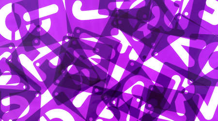 jumbled: Close view of purple alphabet poster board stencils in a mess on a white background.