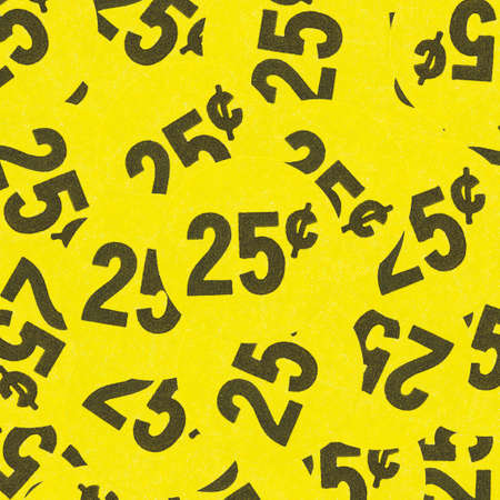 Close view of several bright yellow generic twenty five cent garage sale stickers stuck on top of one another. Stock fotó