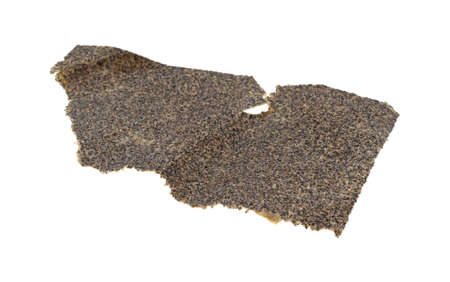 sandpaper: A piece of used sandpaper isolated on a white background. Stock Photo