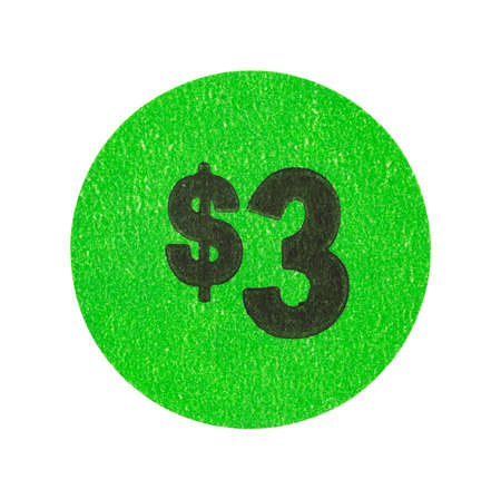 A three dollar green generic garage sale sticker isolated on a white background. Stock fotó