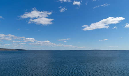 sears: View of Penobscot Bay in Searsport Maine with Sears Island in the distance. Stock Photo