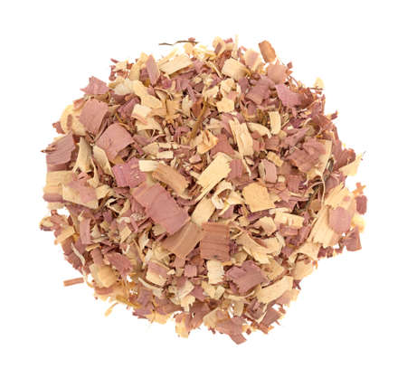 Top view of red cedar shavings used for pet bedding isolated on a white background. Reklamní fotografie