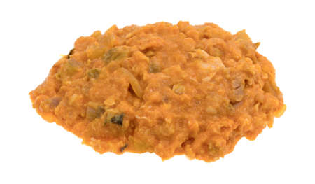 A portion of spicy chicken salad isolated on a white background.