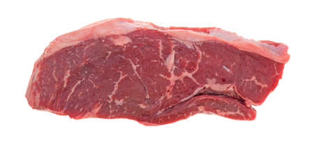 short cut: Top view of an all natural short cut rump steak on a white background. Stock Photo
