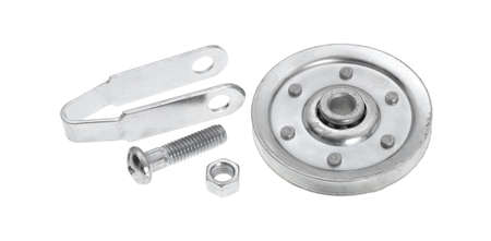 bracket: A new garage door pulley kit with bracket bolt and nut on a white background.