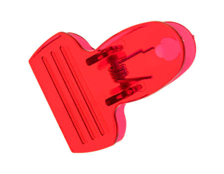 metal fastener: Top view of a red plastic clip isolated on a white background.