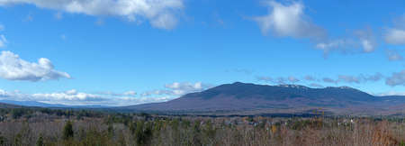 Panoramic view of Kingfield Maine in late autumn with Mount Abram in the distance. Stock Photo