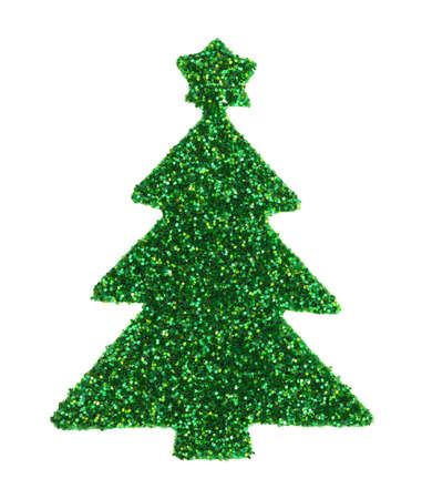 A green glitter Christmas tree sticker isolated on a white background.