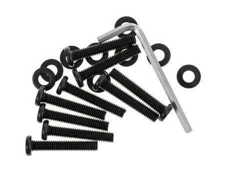 hex key: Several bolts and washers and hex key for do it yourself furniture assembly isolated on a white background.
