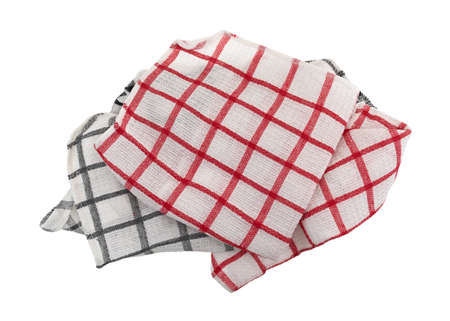 dishtowel: Red and gray patterned dish cloths in a pile isolated on a white background.