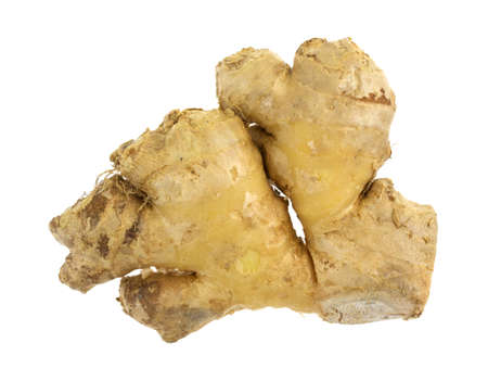 white washed: Top view of a single ginger root isolated on a white background. Stock Photo