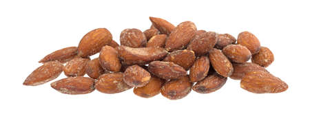 A portion of hickory smoked almonds isolated on a white background.