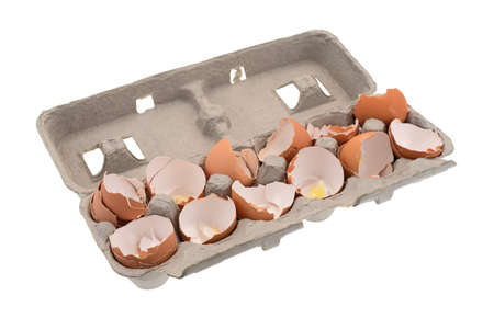 A dozen used egg shells in a cardboard container isolated on a white background.