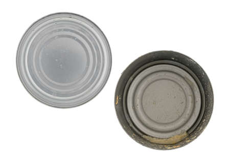 Top view of an empty tuna can with the lid to the side isolated on a white background.