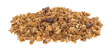 Organic cranberry and nut dry granola cereal isolated on a white background.