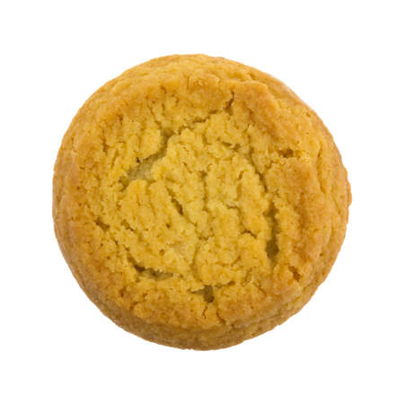 Top view of a sugar cookie with hazelnut creme filling isolated on a white background. 写真素材