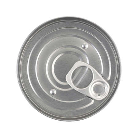 Top view of an unopened soup can with a pull tab isolated on a white background. Stock Photo