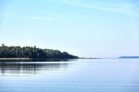 View of a peninsula on Sears Island in Searsport, Maine in the summertime. Stock Photo