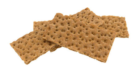 A group of sourdough whole grain crispbread crackers isolated on a white background.