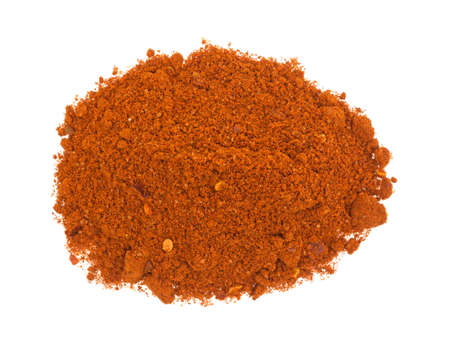 Top view of a small portion of Sriracha seasonings isolated on a white background.