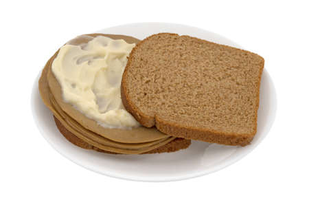 A tofu turkey slice sandwich on wheat bread with mayonnaise on a plate isolated on a white background.