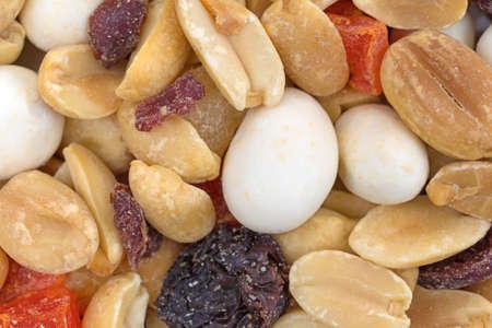 A very close view of yogurt covered raisin trail mix. 版權商用圖片