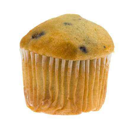 Side view of a single bite size blueberry muffin isolated on a white background.
