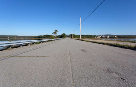 View of the causeway from Sears Island in Searsport Maine in the summertime. Stock Photo