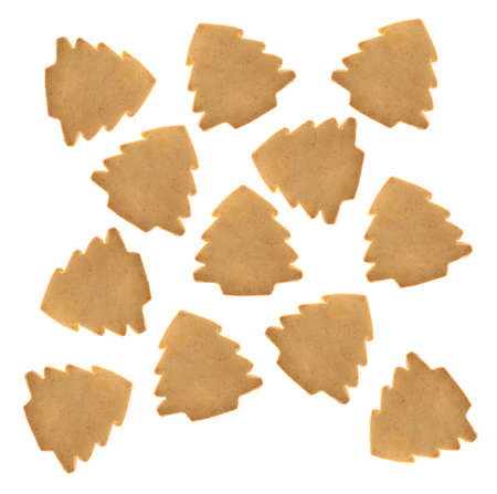 Top view of a group of tree shaped Christmas cookies isolated on a white background. Stock Photo