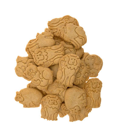 Top view of a large group of animal shaped cookies isolated on a white background.