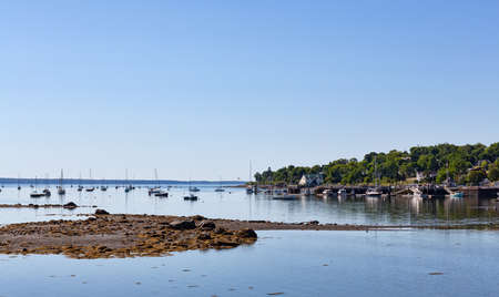 View of the Belfast, Maine harbor at low tide on a bright summer day with sailboats at their moorings in the distance.