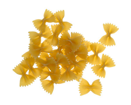 Top view of a portion of bow tie pasta isolated on a white background.