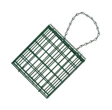 A new green painted suet basket with metal chain isolated on a white background. Foto de archivo - 107979122