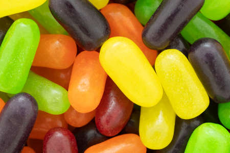 A very close view of chewy colorful sugar candy.