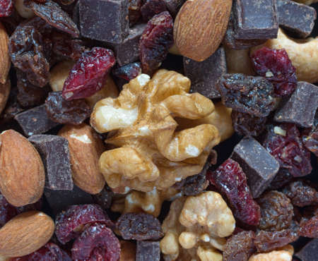 Very close view of a portion of chocolate trail mix.
