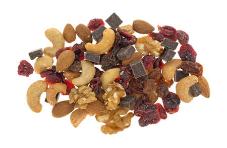 Top view of a serving of chocolate trail mix isolated on a white background.