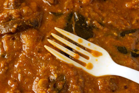 Close view of a white fork in a meal of eggplant curry. Imagens