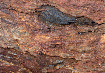Close view of a rock showing rust and reds from oxidation.