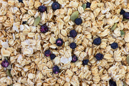 Close view of organic breakfast cereal plus dried blueberries and pumpkin seeds. Stock Photo