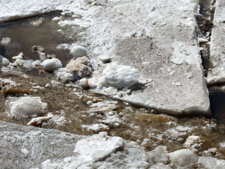 Close view of large and small chunks of ice breaking up in the early spring on the Penobscot River in Maine.