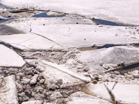Large and small chunks of ice breaking up in the early spring on the Penobscot River in Maine.