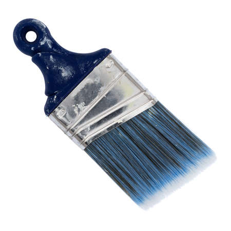 Top view of a used palm sash brush with paint on the handle isolated on a white background