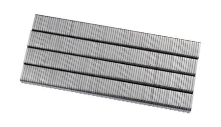 Several rows of industrial steel staples on a white background.