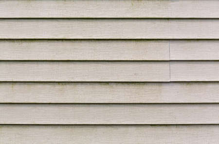 Wide view of several rows of beige vinyl siding with a large amount of dirt and green mold growing on the surface. 免版税图像