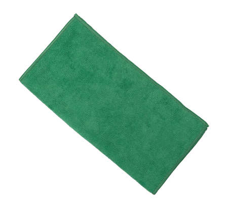 Top view of a folded green microfiber cleaning cloth isolated on a white background. Banco de Imagens