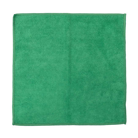 Top view of a folded green microfiber cleaning cloth isolated on a white background. Imagens