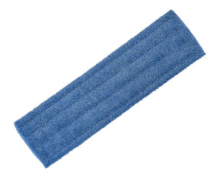 Blue microfiber cleaning cloth for floor cleaning isolated on a white background.