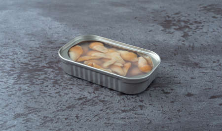 Side view of an open tin of razor clams in water on a gray table illuminated with natural lighting. Imagens