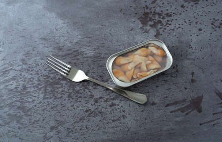 Top view of an open tin of razor clams in water with a fork to the side on a gray table illuminated with natural lighting. Banco de Imagens