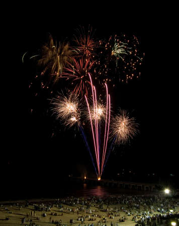 Fireworks display on the beach Stock Photo